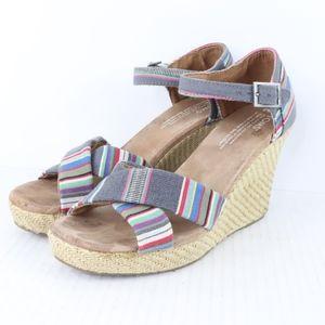 Toms Womens 8.5 Sienna Wedge Sandals Striped